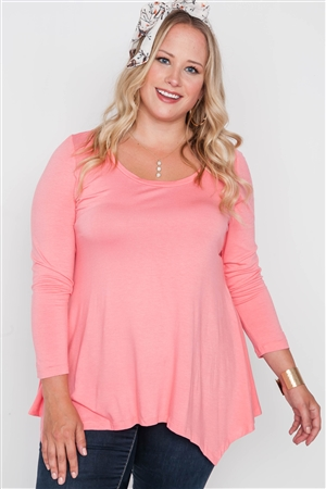 Plus Size Coral Long Sleeve Basic Top
