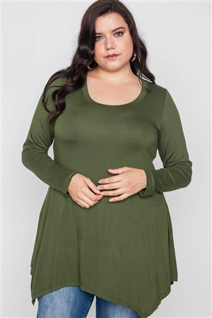 Plus Size Olive Green Long Sleeve Basic Top