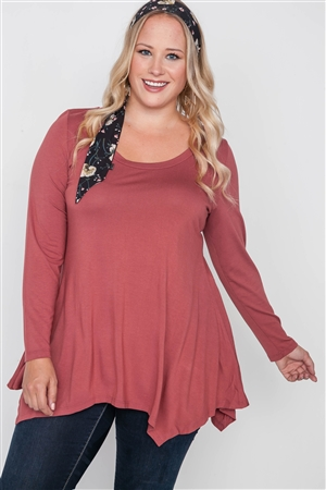 Plus Size Henna Rust Long Sleeve Basic Top