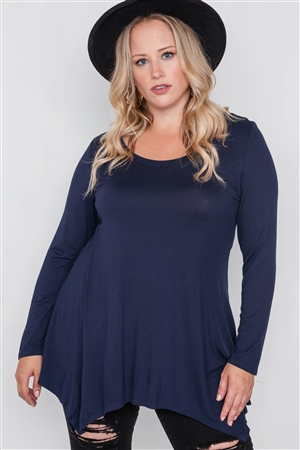 Plus Size Navy Blue Long Sleeve Basic Top