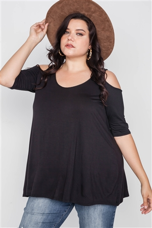 Plus Size Black Cold Shoulder Basic Top