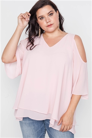 Plus Size Blush Cold Shoulder Chiffon Top