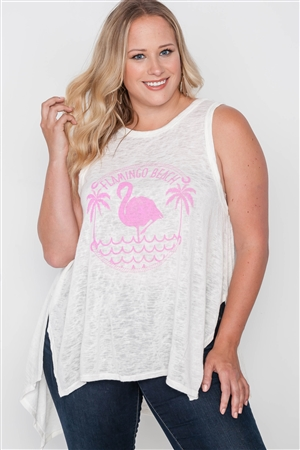 Plus Size Off White Knit Graphic Tank Top