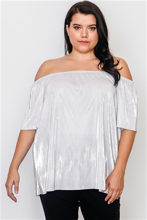 Plus Size Silver Off The Shoulder Pleated Top
