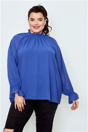 Plus Size Blue Violet High Neck Ruffle Long Sleeve Top
