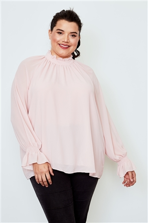 Plus Size Blush High Neck Ruffle Long Sleeve Top