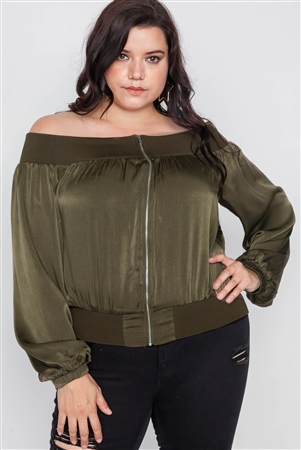 Plus Size Olive Off-The-Shoulder Light Bomber Jacket
