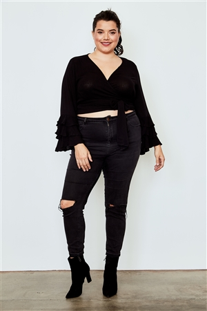 Plus Size Black Tiered Bell Sleeve Tie Front Wrap Top