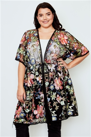Boho Plus Size Black Sheer Floral Embroidered Waist Tie Kimono