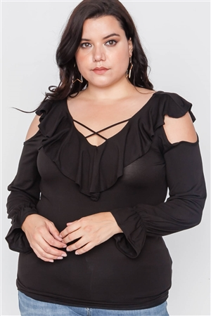 Plus Size Black Long Sleeve Flounce Top