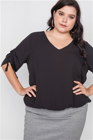 Plus Size Black Chiffon V-Neck Solid Top