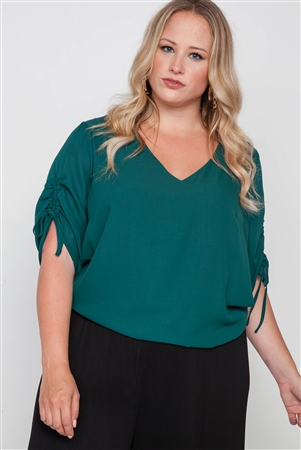 Plus Size Hunter Green Chiffon V-Neck Solid Top