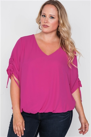 Plus Size Magenta Chiffon V-Neck Solid Top