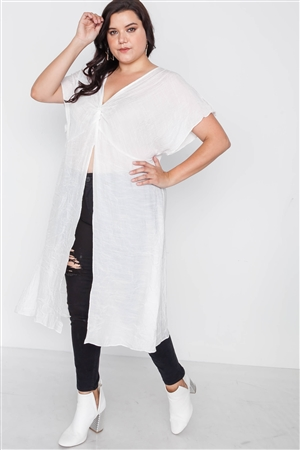 Plus Size White Front Slit Tunic Cover-Up Top