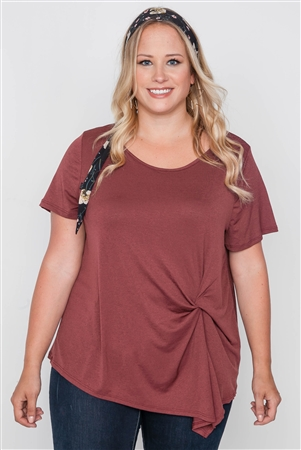 Plus Size Maroon Rust Short Sleeve Twist Front Top