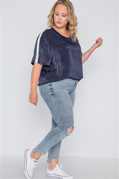 Plus Size Midnight Blue Colorblock Short Sleeve Top
