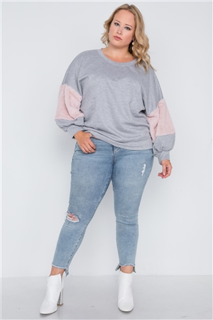 Plus Size Heather Grey Faux Fur Pink Sleeves Sweater