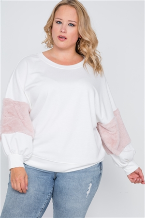 Plus Size Off White Faux Fur Pink Sleeves Sweater