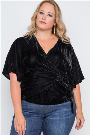 Plus Size Black Velvet Short Sleeve Side Tie Top