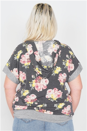 Plus Size Charcoal Mix Floral Print Pull Over Hoodie Sweater