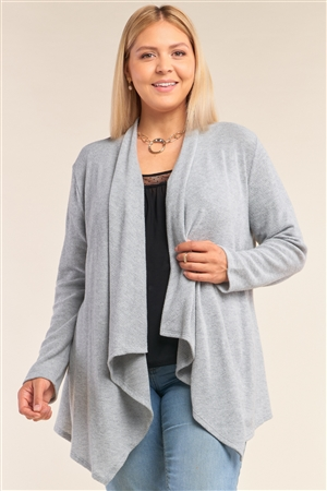 Junior Plus Size Heather Grey Knit Open Front Long Sleeve Asymmetrical Pleated Collar Hem Cardigan