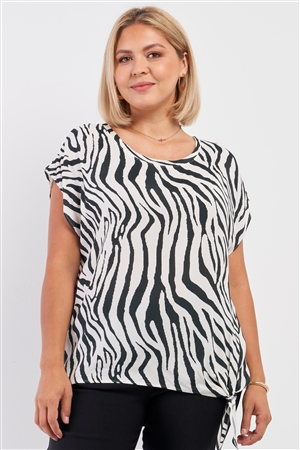 Junior Plus Black & White Zebra Print Sleeveless Self-Tie Detail Relaxed Fit Crew Neck Top /3-2-1