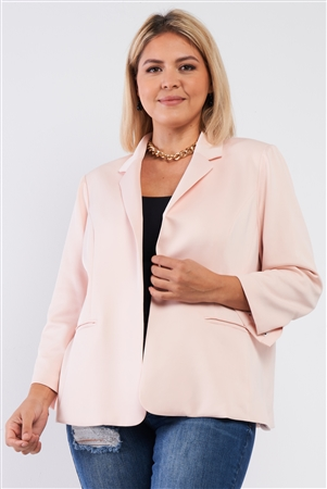 Junior Plus Light Blush Classic Open Front Blazer /3-1-1-1