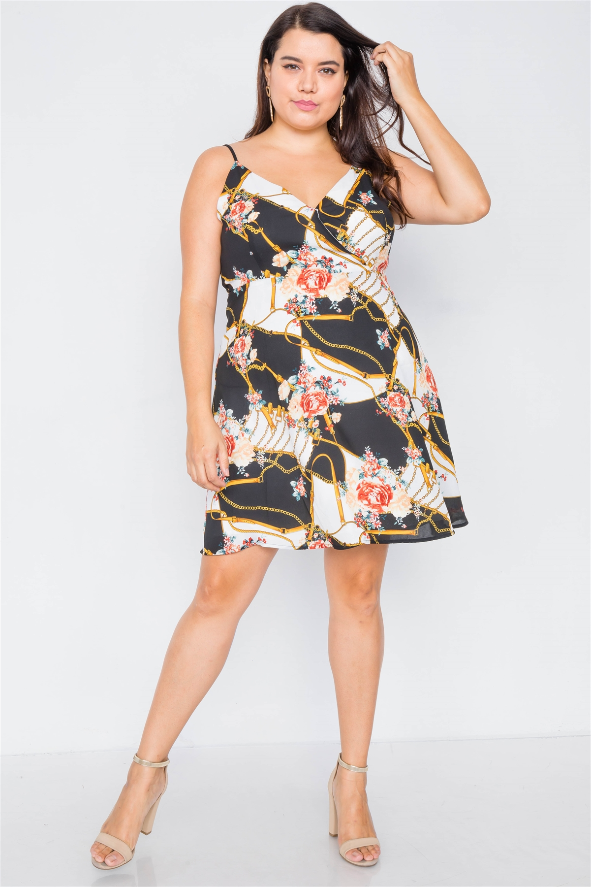 Plus Size Black Floral Belt & Chain Printed Mini Dress /1-2-2-1