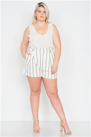 Plus Size Mixed Linen Beige Brown High-Waisted Boho Chic Shorts