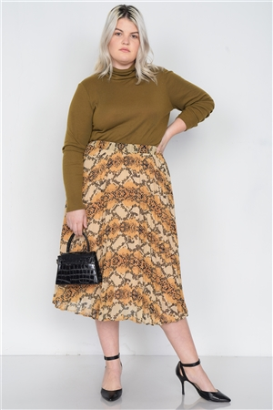 Plus Size Yellow Brown Pleated Animal Print Chic Midi Skirt