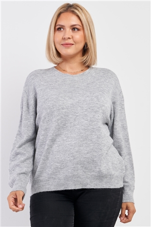 Junior Plus Size Heather Grey Soft Ribbed Fleece Long Sleeve Sweater /1-2-2-1