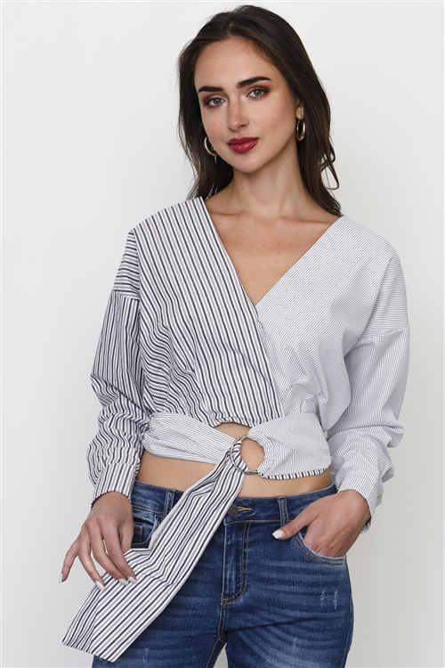 Black And White Stripe Tie Front Top