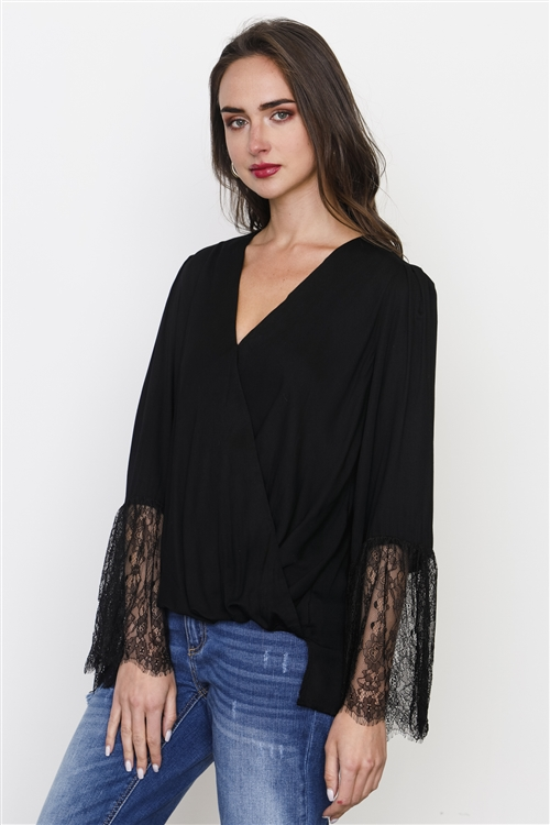 Black Lace Sleeves Cross Drape Front Top
