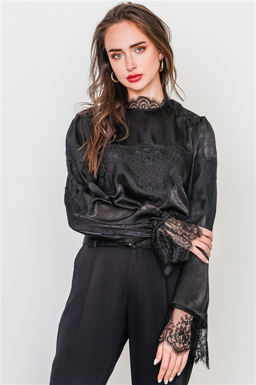 Black Floral Lace Inset High Neck Top