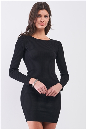 Black Ribbed Long Sleeve Chain Accessory Open Back Detail Bodycon Mini Dress