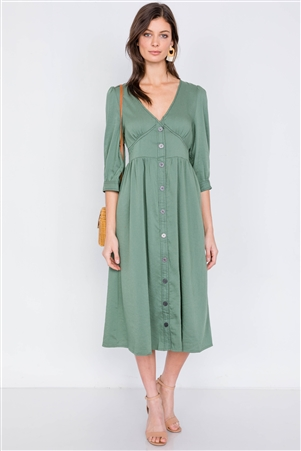 Olive V-Neck Front Button 3/4 Puff Sleeve Casual Midi Dress