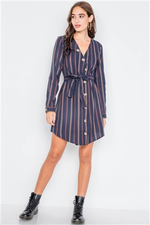 Navy Stripe Full Sleeve Curve Hem Mini Midi Dress