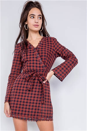 Burgundy & Blue Plaid Checkered Grommet Raw Hem Mini Dress
