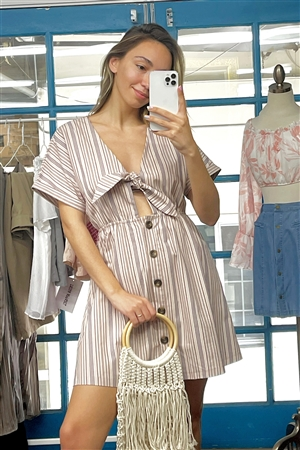So 90's! Blush Striped Self-Tie Front Detail Short Sleeve Button Down Mini Shirt Dress /2-2-2