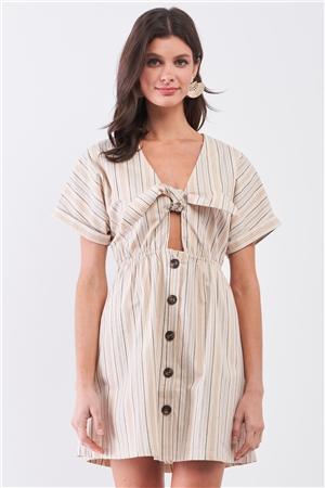 So 90's! Taupe Striped Self-Tie Front Detail Short Sleeve Button Down Mini Shirt Dress /2-2-2