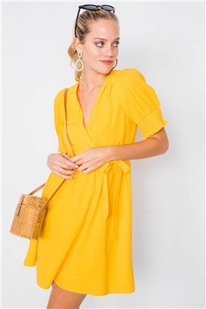 Yellow Vintage V-Neck Smocked Short Puff Sleeve Classic Mini Sundress