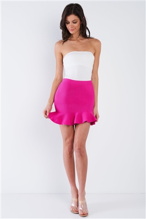 Fuchsia Pink Mermaid Frill Hem Mini Skirt