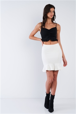 White Mermaid Frill Hem Mini Skirt