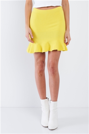 Yellow Mermaid Frill Hem Mini Skirt