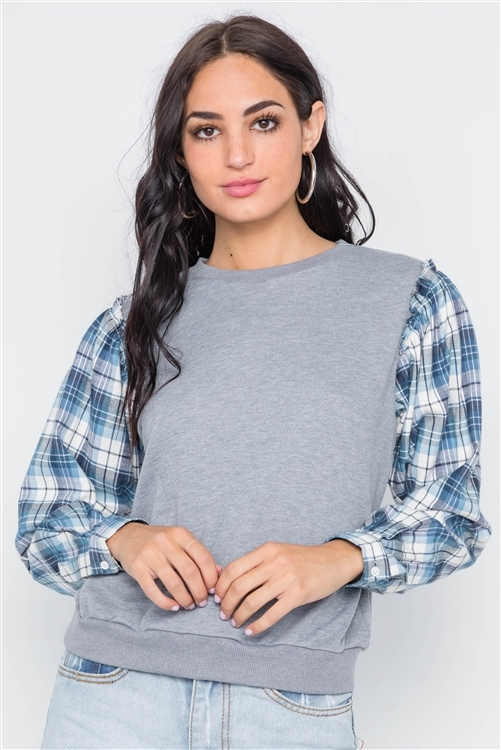 Grey Knit Plaid Contrast Sleeves Combo Top