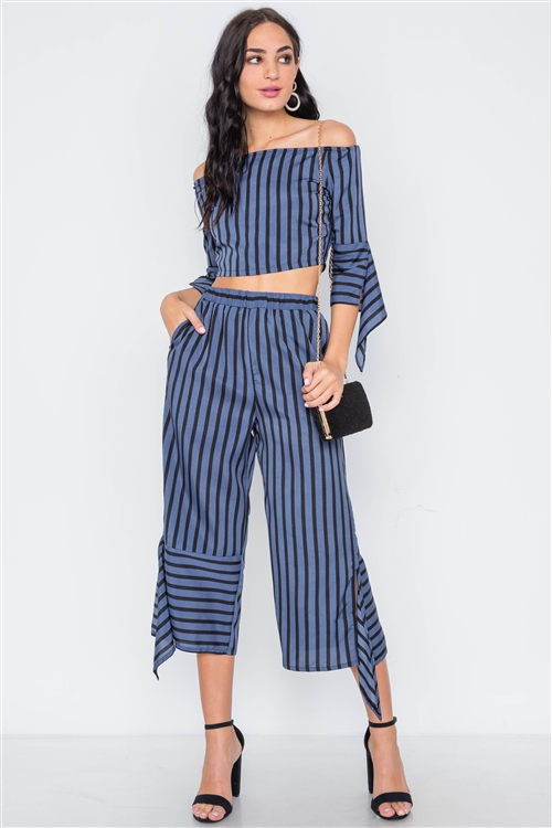 Blue Black Stripe Flounce Two Piece Top Pants Set