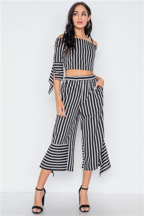 White Black Stripe Flounce Two Piece Top Pants Set