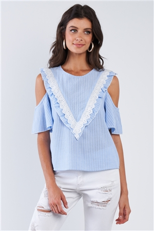 Blue & White Stripped Cold Shoulder Woven Top