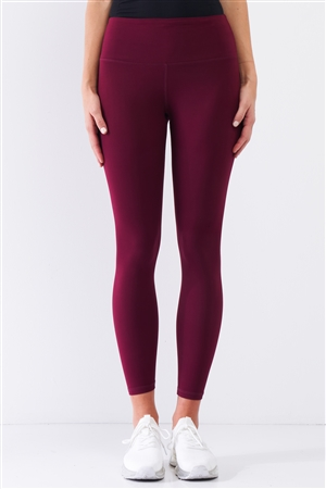 Wine Red Mid-Rise Inner Waist Pocket Detail Tight Fit Soft Yoga & Work Out Legging Pants /1-2-2-1