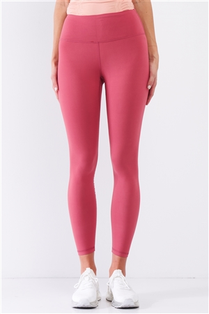 Coral Pink Mid-Rise Inner Waist Pocket Detail Tight Fit Soft Yoga & Work Out Legging Pants /1-2-2-1